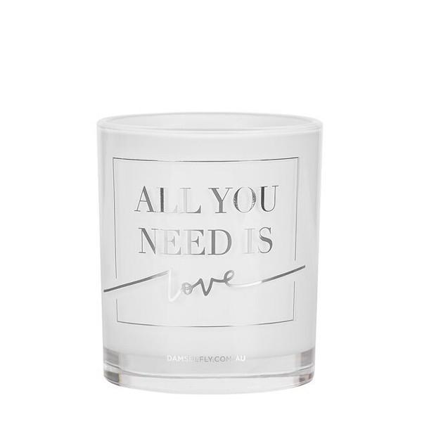Damselfly Candle L - All You Need Is Love Silver