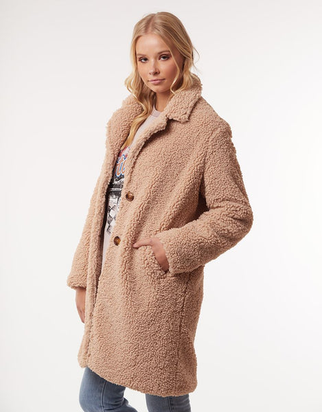 All About Eve Maxie Teddy Coat - Tan