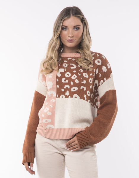 All About Eve Mix Match Leopard Knit Crew