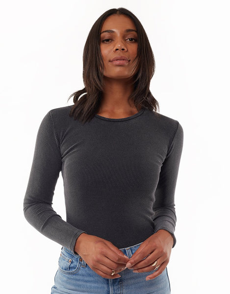 All About Eve Waffle Long Sleeve Top - Black
