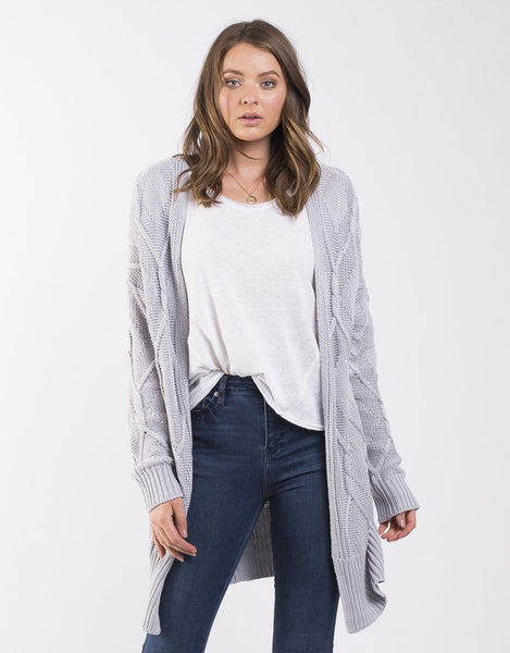 All About Eve Road Map Knitted Cardi - Grey