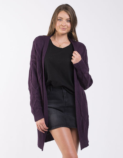 All About Eve Road Map Knitted Cardi - Plum