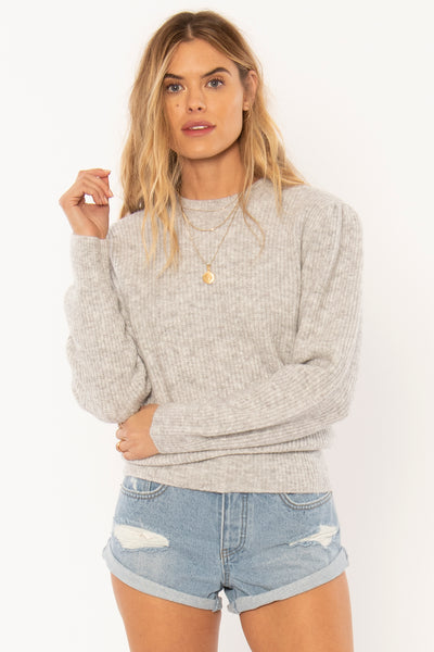 Amuse Society Florence Sweater - Grey Heather