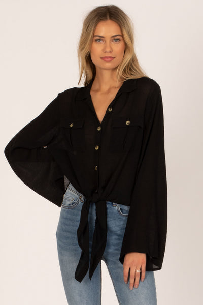 Amuse Society Hammock L/S Button Up Top - Black