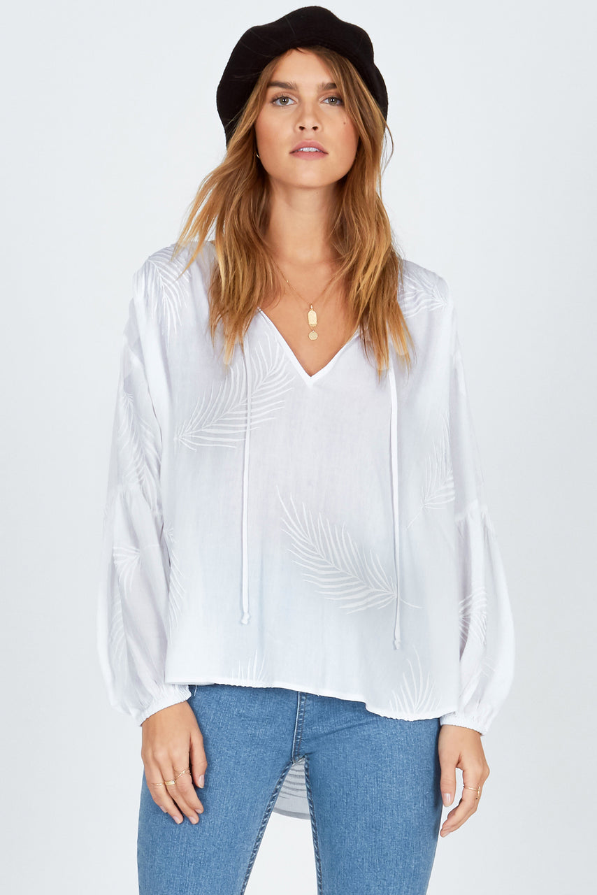 Amuse Society Clear Skies Woven Top - White