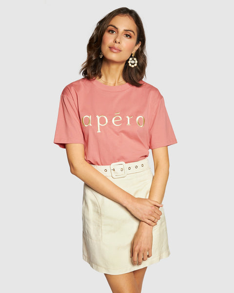 Apero Embroidered Tee - Dusty Pink/Cream