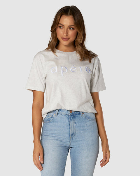 Apero La Mode Embroidered Tee - Grey Marle