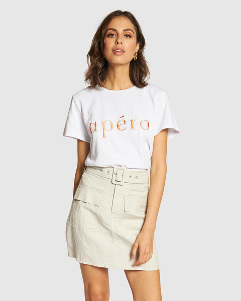 Apero Marble Embroidered Femme Tee - White/Multi