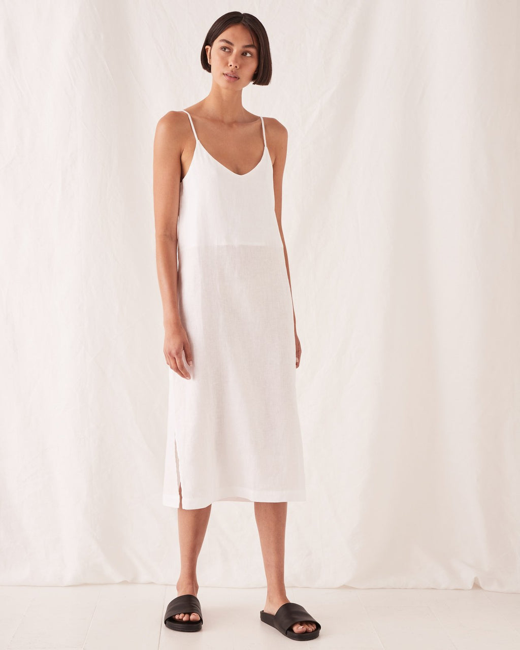 Assembly Label Linen Slip Dress - White