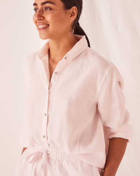 Assembly Label Xander Linen Shirt - Pink Dew