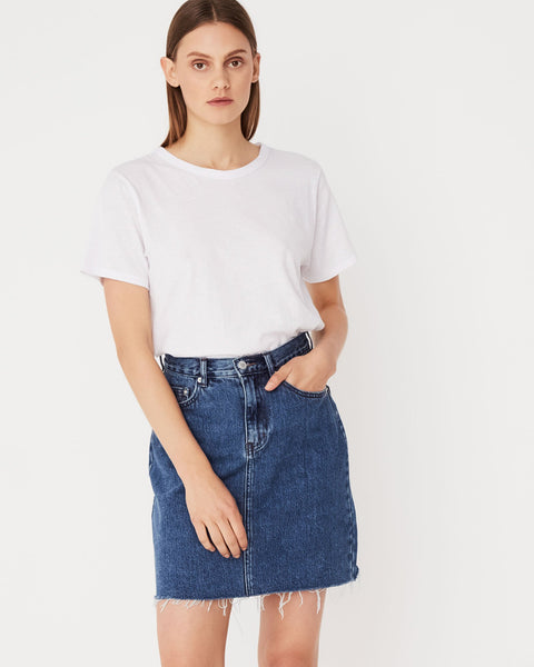 Assembly Label Rigid Fray Skirt - Mid Blue