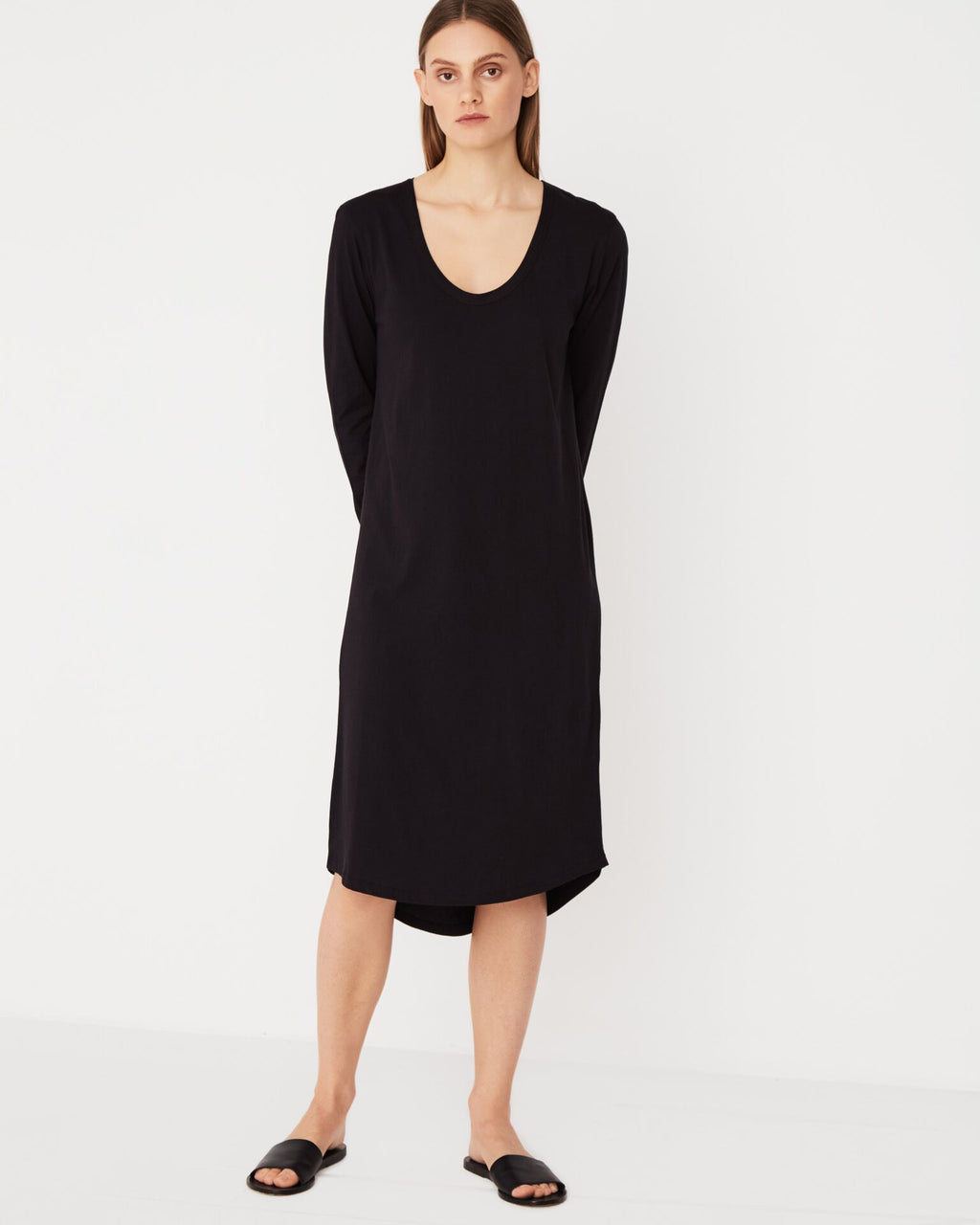 Assembly Label Soft V Long Sleeve Dress - Black