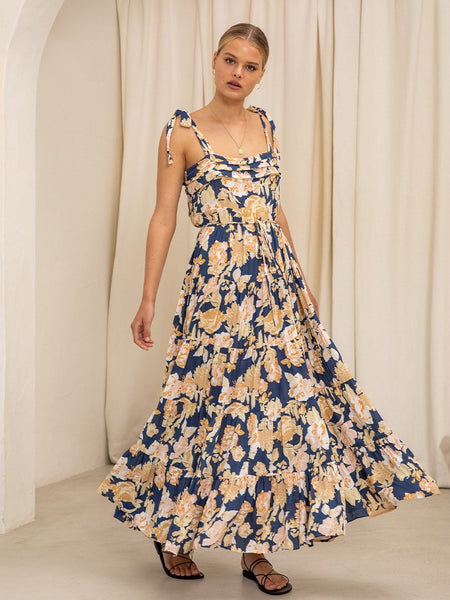 Kivari Briar Floral Strappy Maxi Dress - Navy Floral