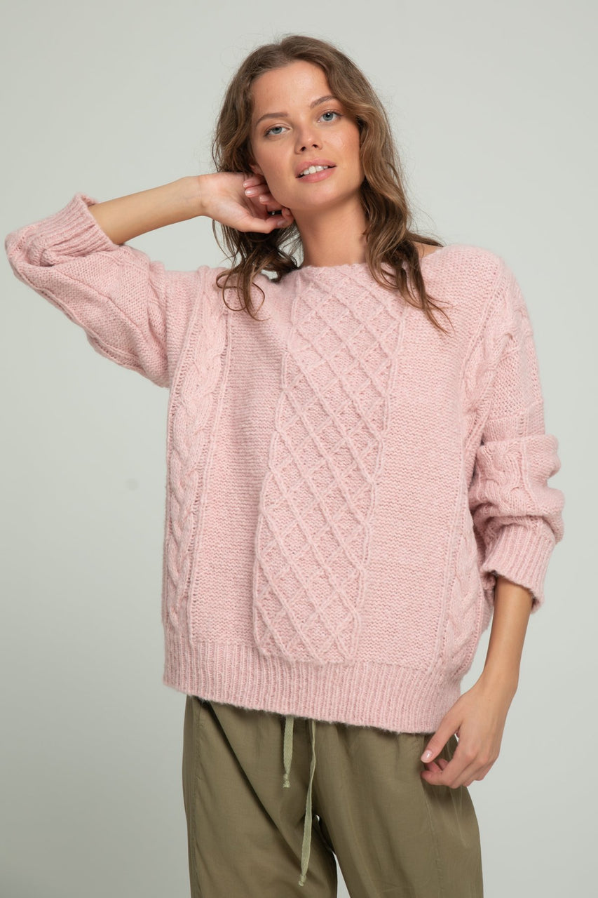 Lilya Cable Knit - Dusty Pink