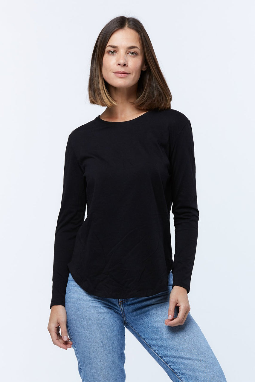 Casa Kuma Long Sleeve Saddle Hem Tee - Black