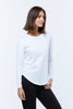 Casa Kuma Long Sleeve Saddle Hem Tee - White