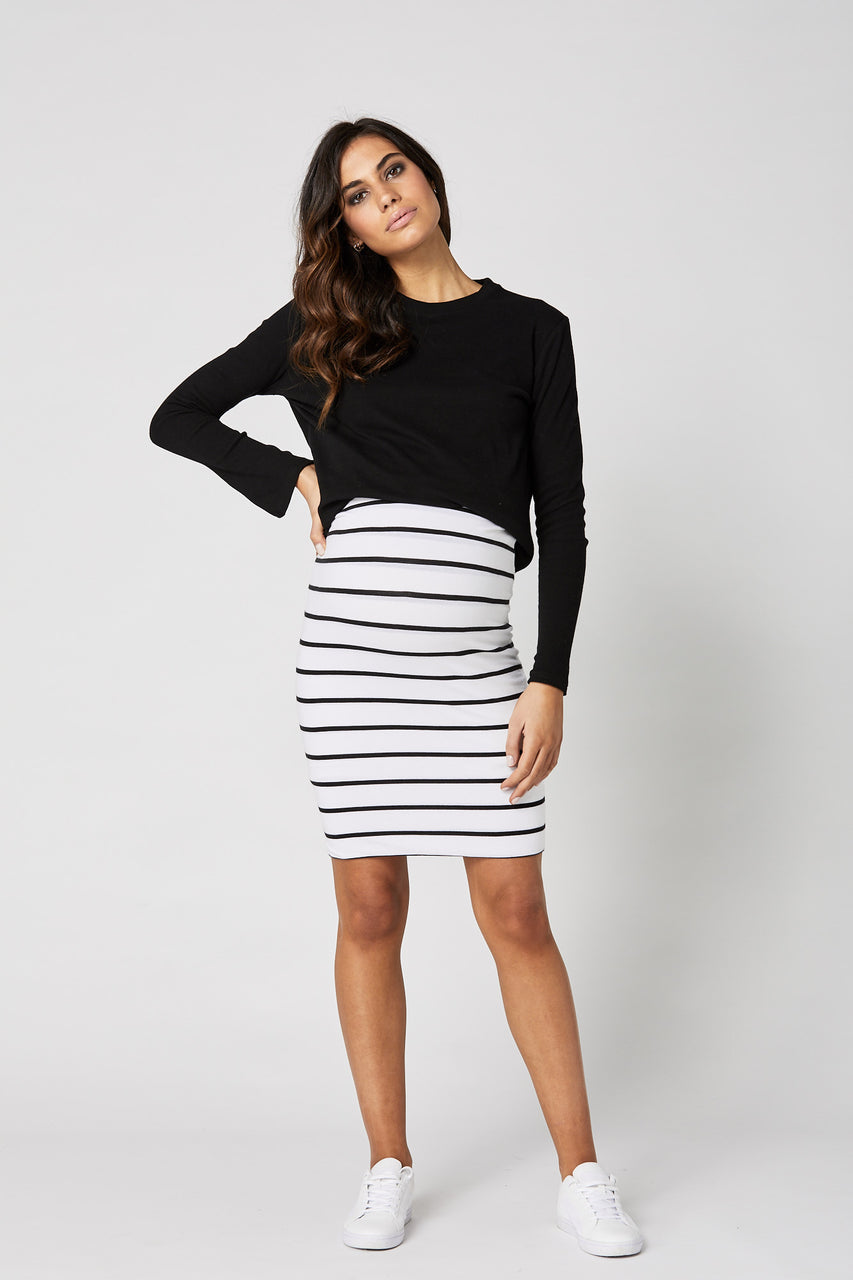 Legoe Downtown Skirt - Black/White Stripe