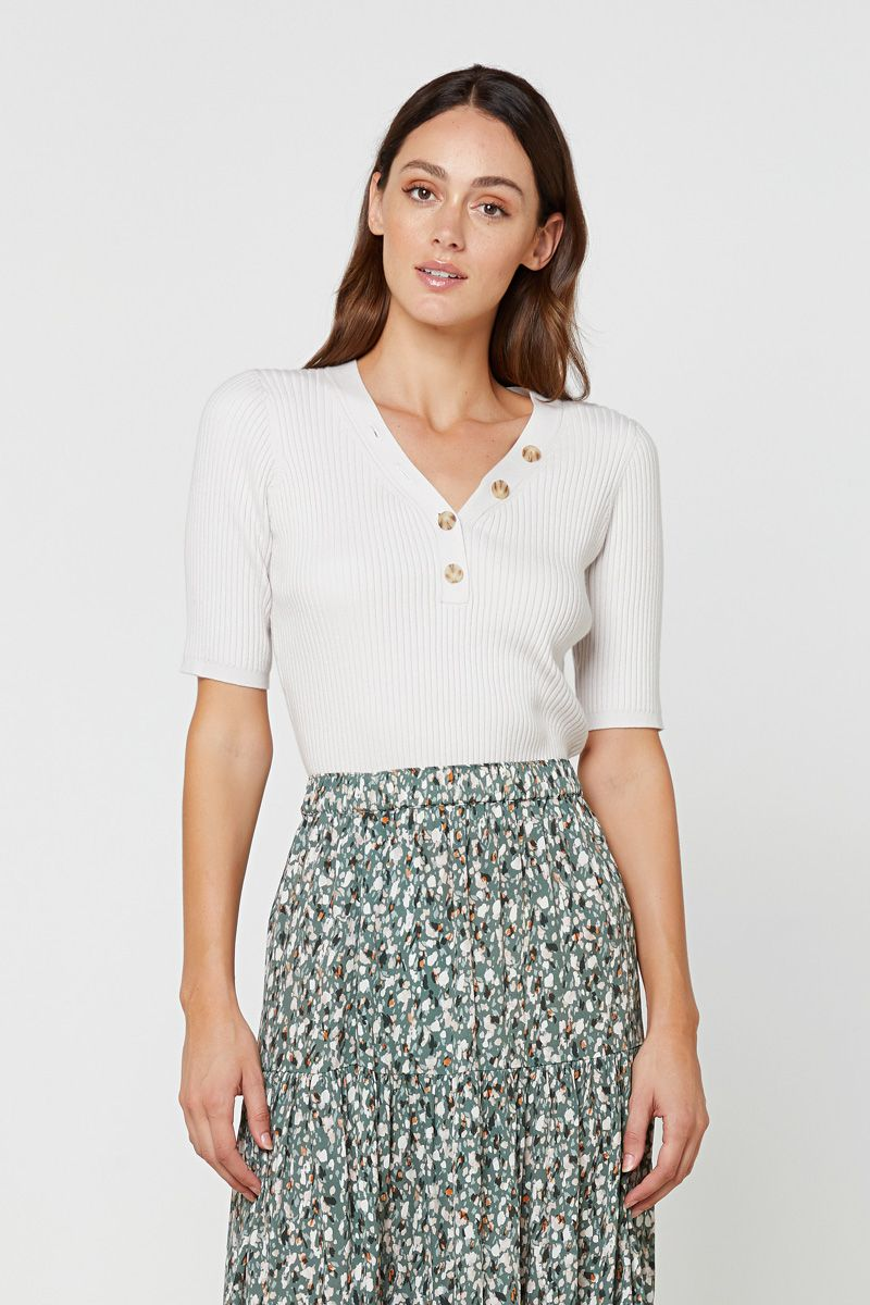Elka Sherry Knit Top - Oatmeal