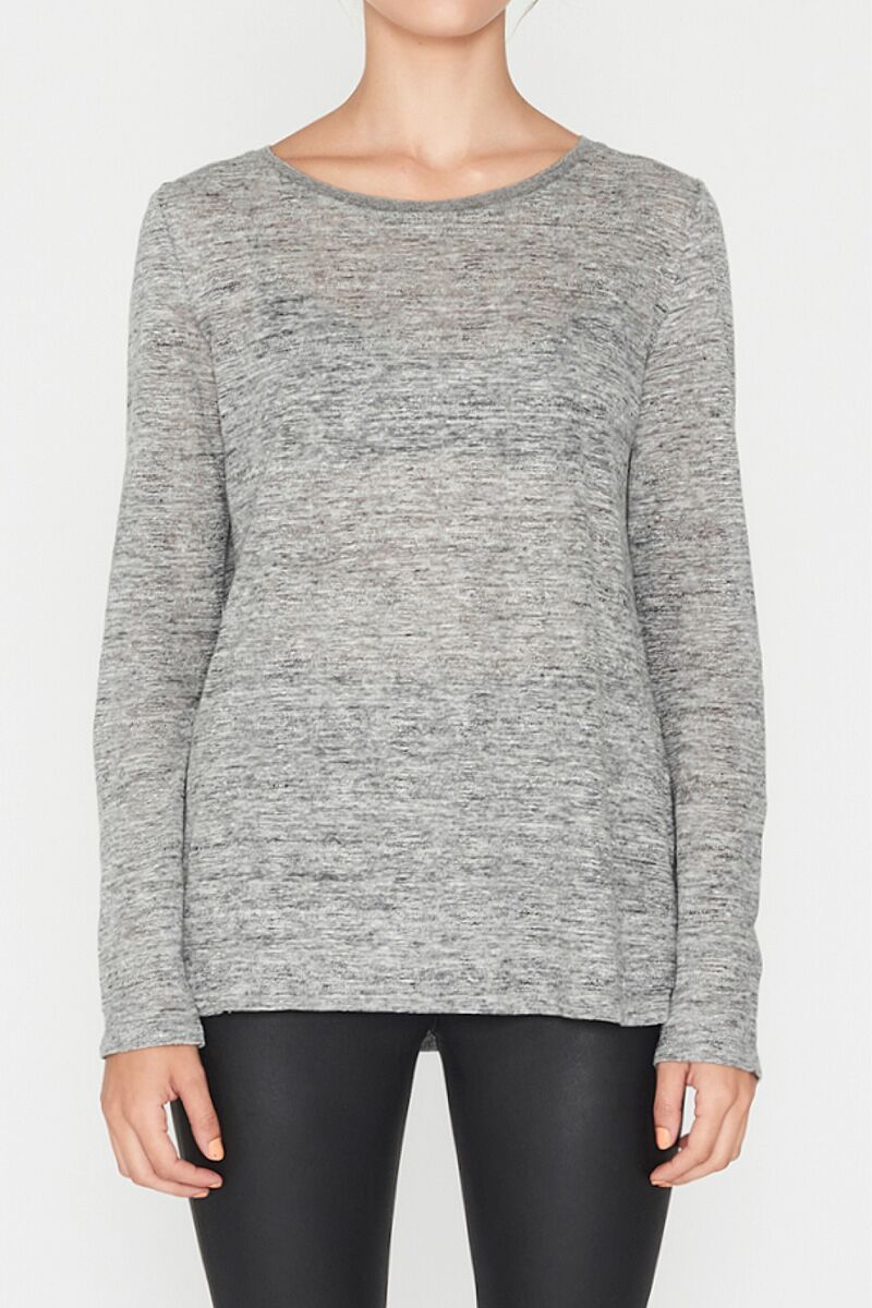 Elka EC Linen Long Sleeve Tee - Grey Marle