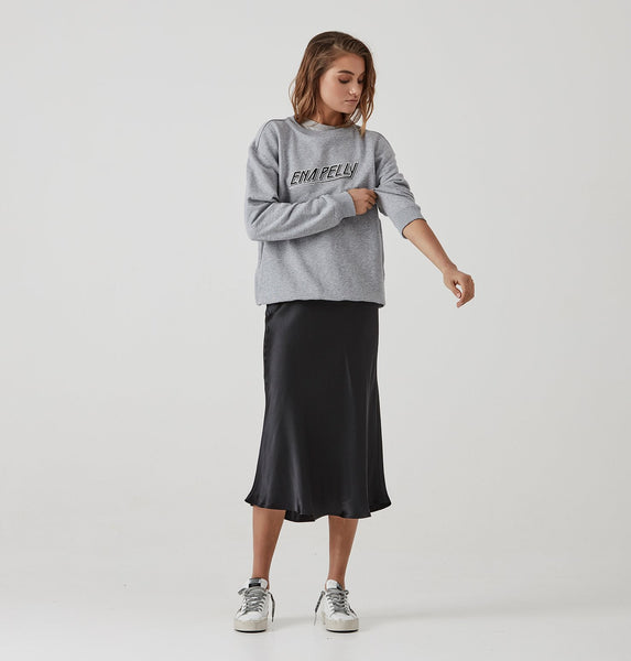 Ena Pelly 80's Block Sweat - Grey Marle