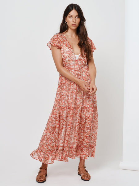 Kivari Farrah Sheer Tie Side Midi - Red Baby Floral