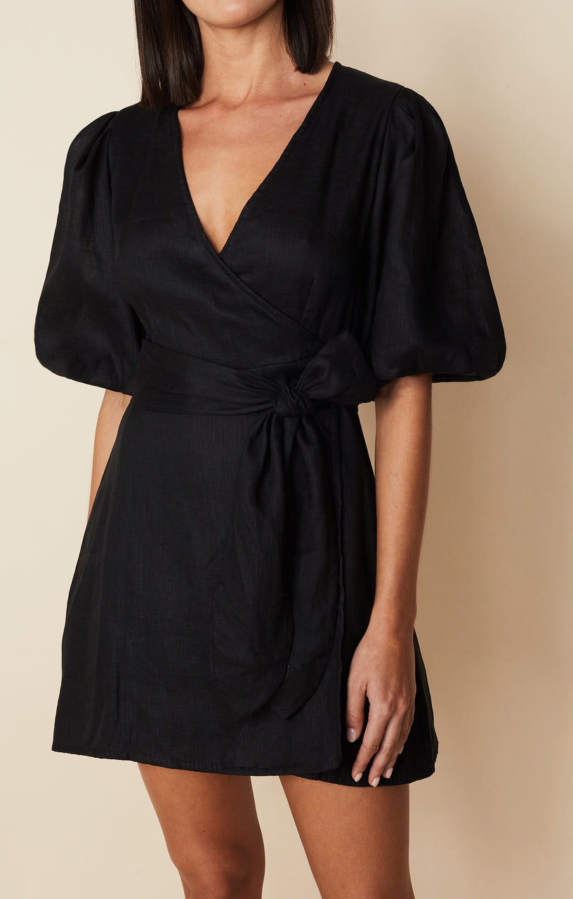 Faithfull Godiva Wrap Dress - Plain Black