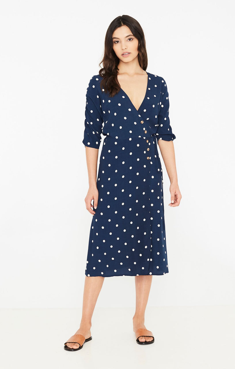 Faithfull The Brand Anne Marie Midi Dress - Ronja Dot Vintage Blue