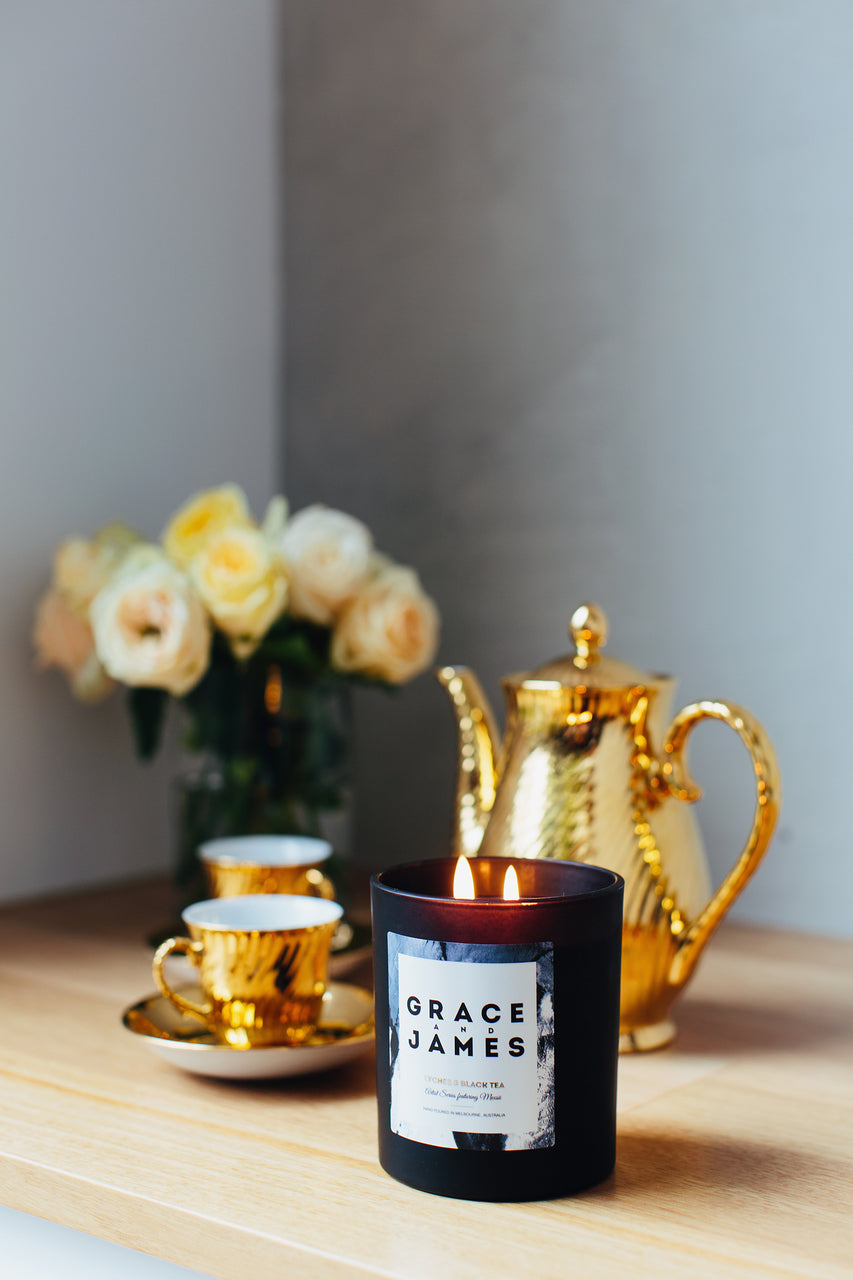 Grace and James Artist Series Candle - Lychee & Black Tea