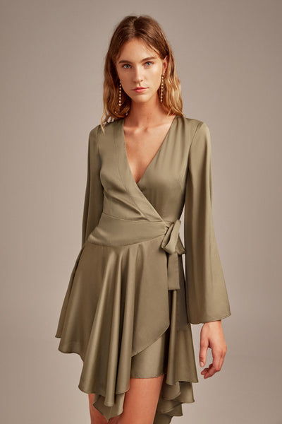 Keepsake Oceans LS Wrap Dress - Khaki