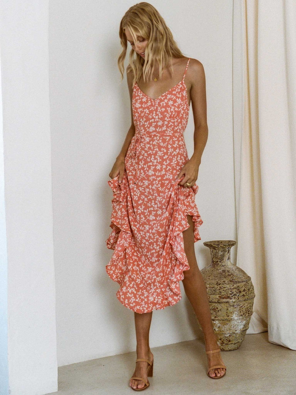Kivari Olivia Floral Strappy Midi Dress