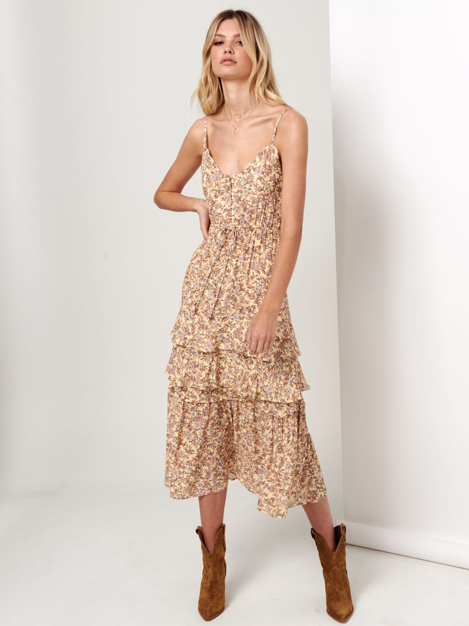 Kivari Isabella Strappy Maxi Dress - Yellow & Pink Floral