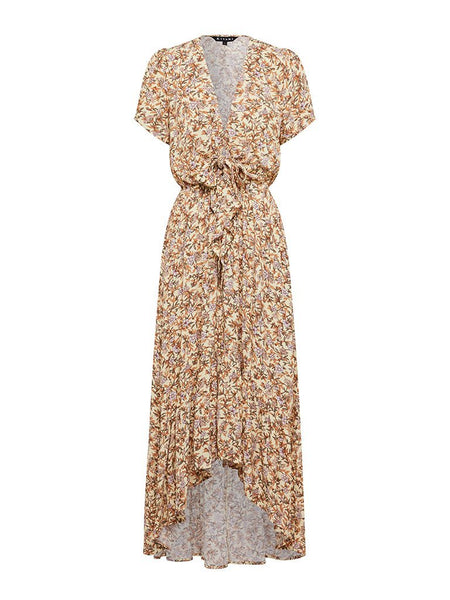Kivari Isabella Tie Front Maxi Dress - Yellow & Pink Floral