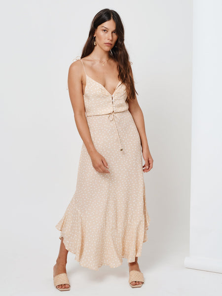 Kivari Jolie Maxi Dress - Nude Polka