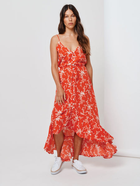 Kivari Oasis Strappy Maxi Dress - Red Spacey Floral