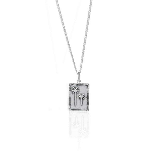 Luna & Rose 'Coconut & Bliss' Pacific Palm Necklace - Silver