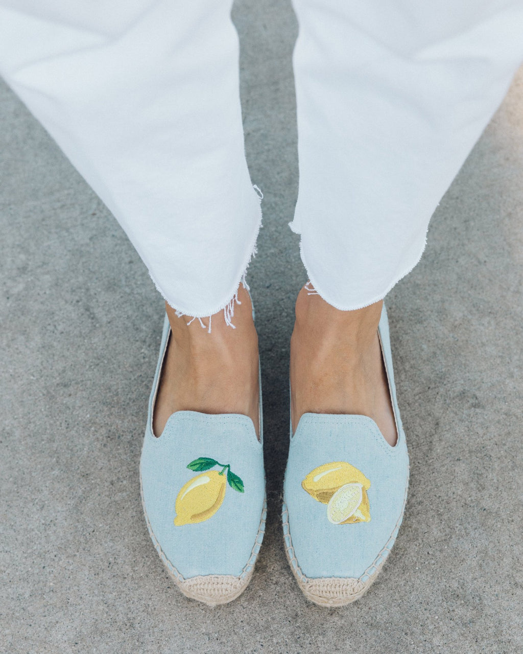 Soludos 'Lemons' Embroidered Platform Smoking Slipper - Chambray