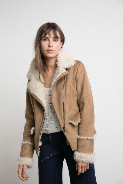 Lilya Canyon Shearling Jacket - Caramel