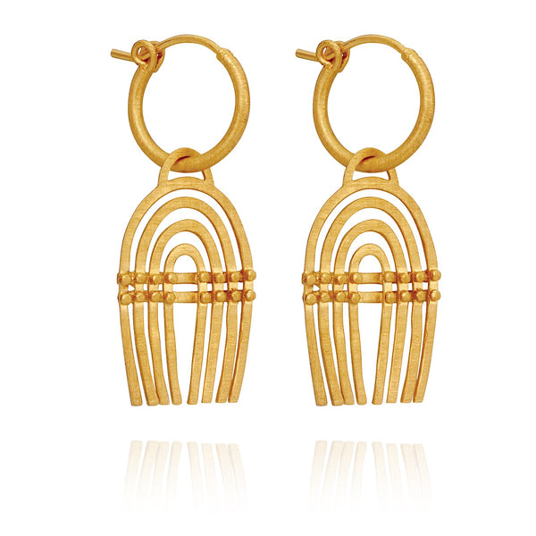Temple Of The Sun Mena Earring - Gold
