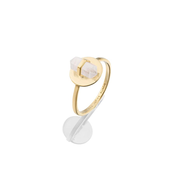 Krystle Knight Mini Island Crystal Coin Ring - Brass