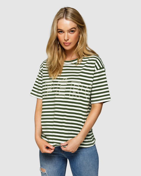 Apero Mondo Stripe Embroidered Tee - Olive/White Stripe
