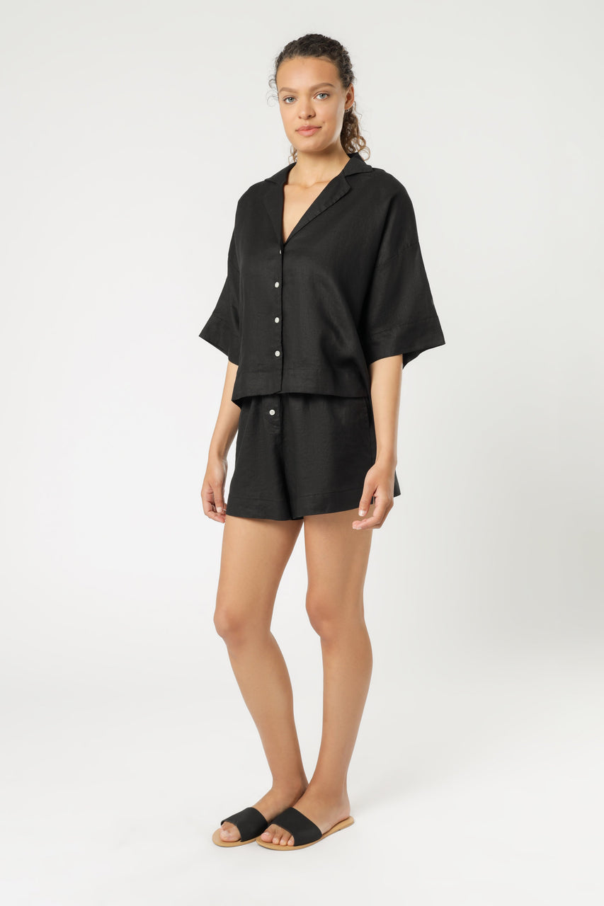 Nude Lucy Nude Linen Lounge Shirt - Black
