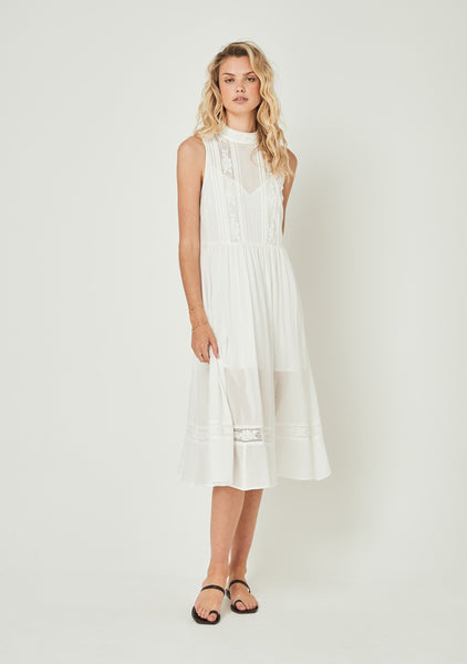 Auguste Margot Wren High Neck Midi Dress - White