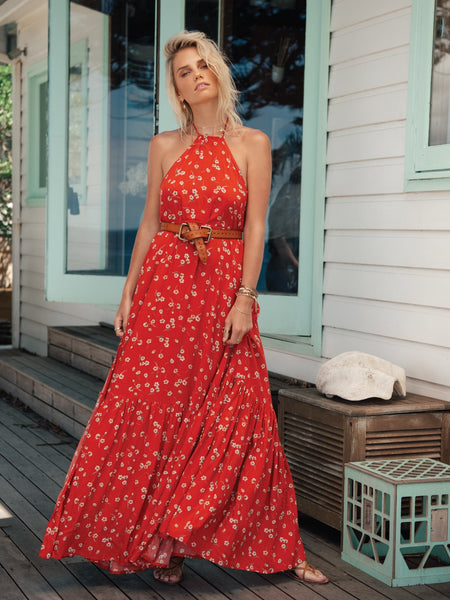 Kivari Quinn Floral Maxi Dress - Red Baby Floral