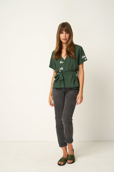 Rue Stiic Frontier Wrap Top - Blossom Mustang Green