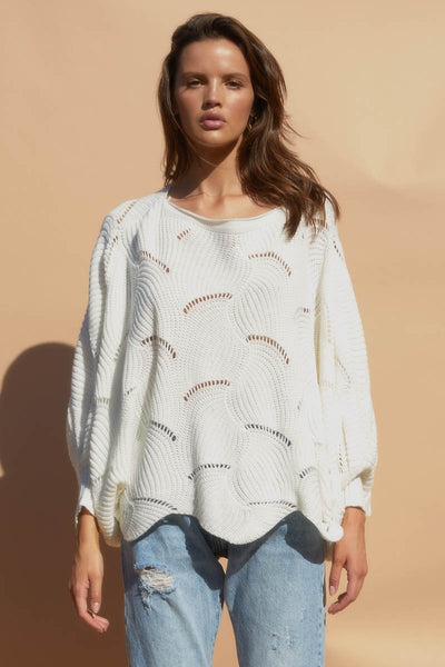 SNDYS The Label - Scallop Knit Top - White