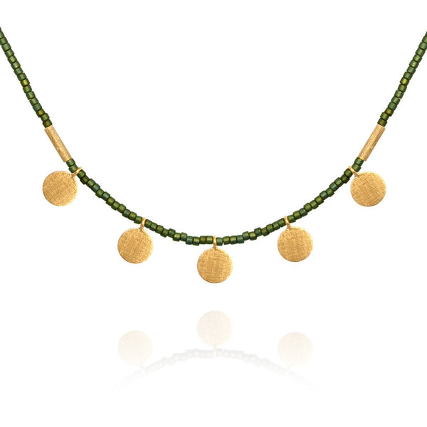 Temple Of The Sun Seed Bead Necklace With Gold Disk Matt Green