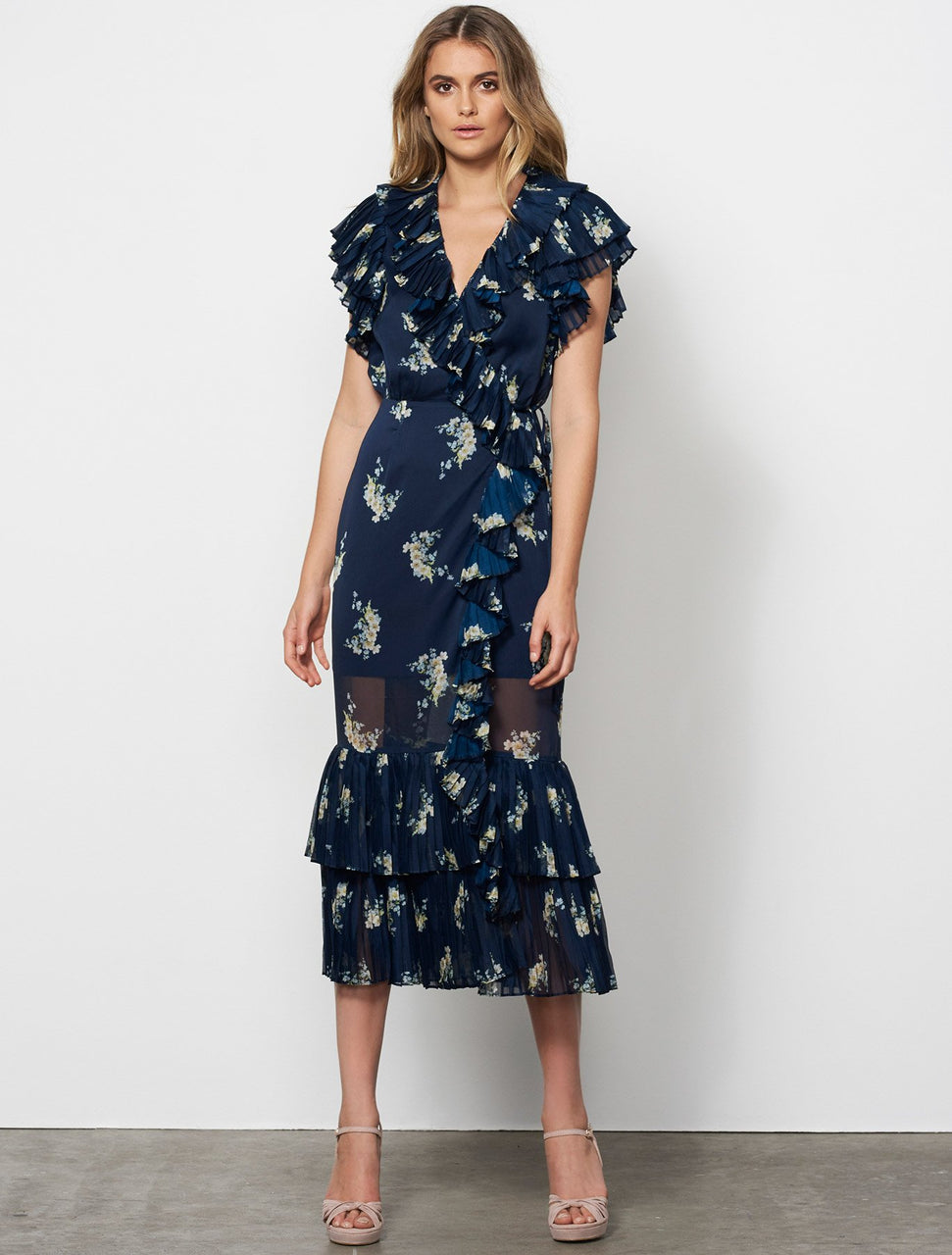 Stevie May Midnight Blooms Wrap Midi Dress