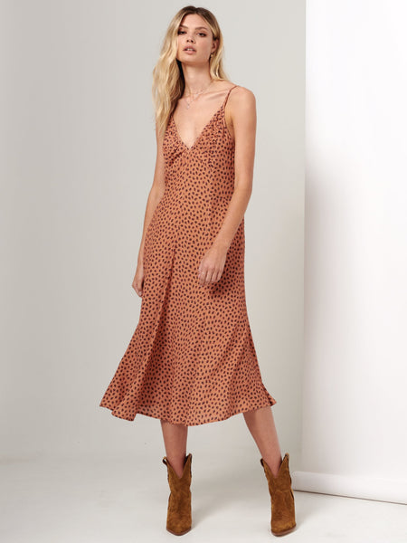 Kivari Stella Leopard Midi Slip Dress - Orange Leopard