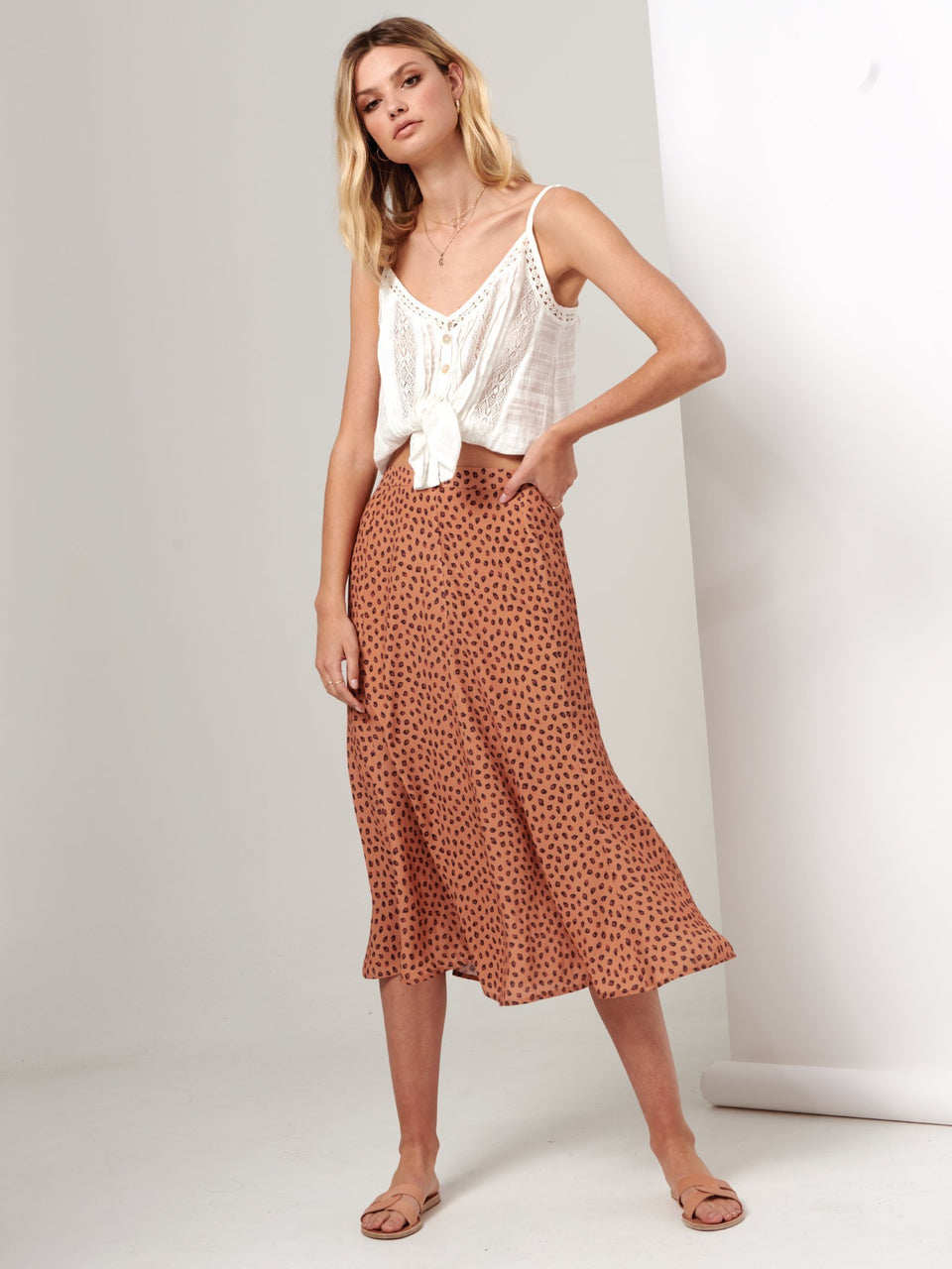 Kivari Stella Leopard Skirt - Orange Leopard
