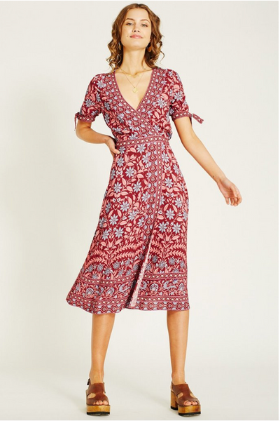 Arnhem Marigold Wrap Midi Dress - Rhubarb